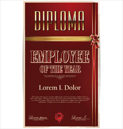 Diploma, employee of the year Vector