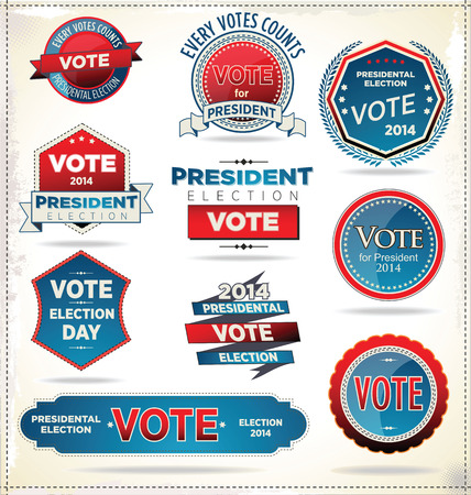 presidential election: Election badges and labels