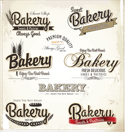 Retro Bakery Badges And Labels Vector