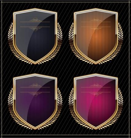 rouge et noir: Shields avec couronne de laurier