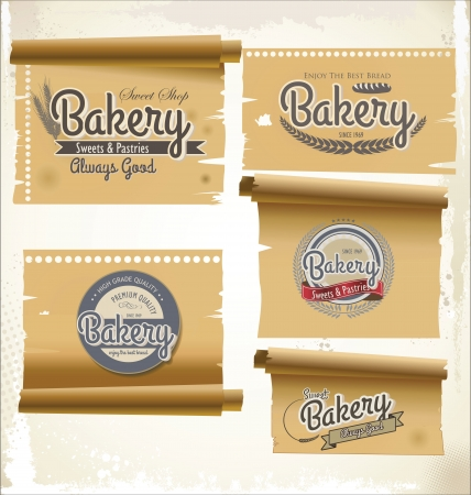 Vintage retro bakery labels and old paper Vector
