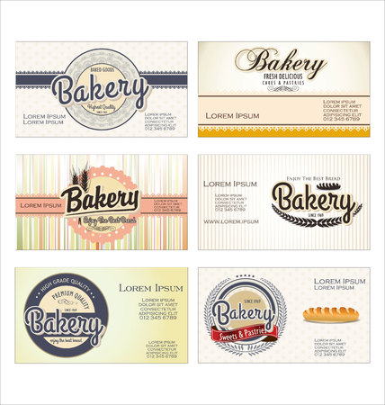 flour mill: Set of 6ybakery retro business card templates