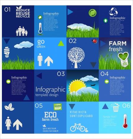 ciclo del agua: Diseño de la plantilla azul ecología moderna Vectores