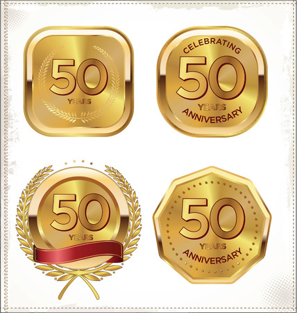 50 jaar jubileum achtergrond Stock Illustratie