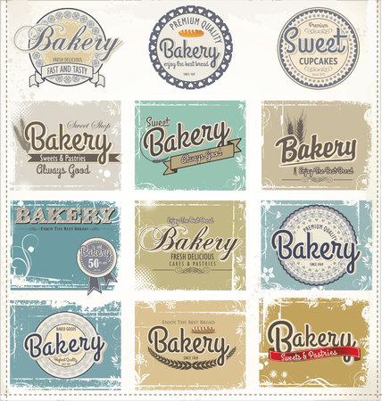 Collections of bakery design elements Vector