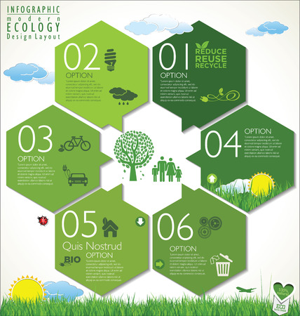 studying: Modern green ecology design template