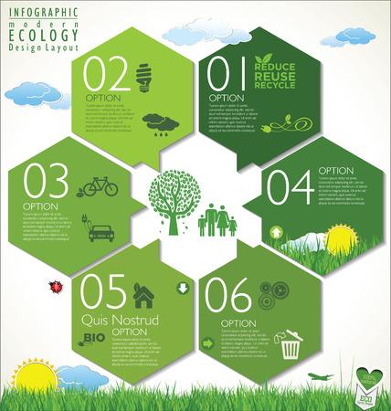 edukacja: Nowoczesne zielone ekologii szablon Ilustracja