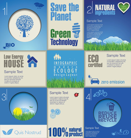 Modern blue ecology design template Vector