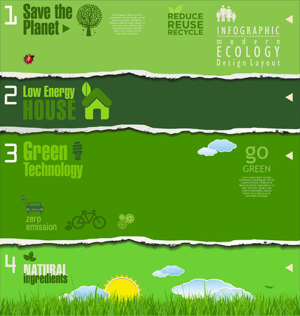Modern green ecology background, torn paper Vector