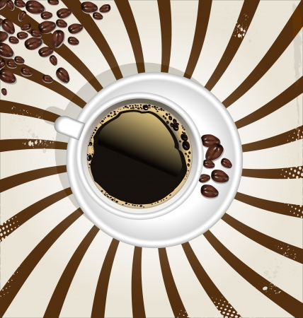 Retro cup of coffee background Vector