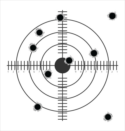 gun sight: target with bullet holes  Illustration