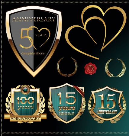 Anniversary blue label, set  Vector