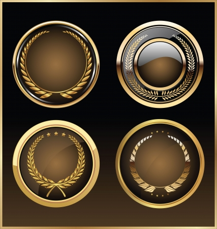 Vector round golden glossy labels Vector