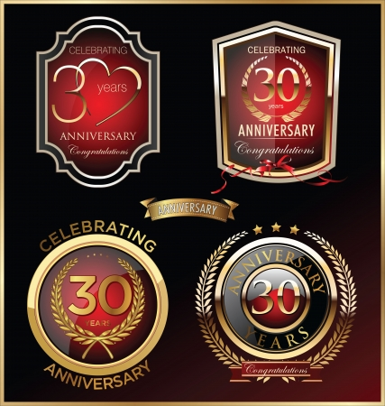 30: Anniversary sign collection, retro design