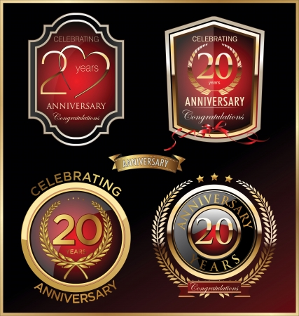 20 years: Anniversary sign collection, retro design