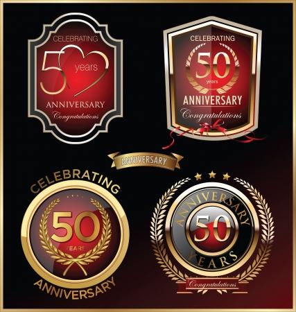 50: Anniversary sign collection, retro design