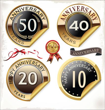 Anniversary sign collection, retro design Vector