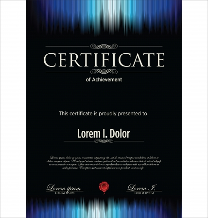Blue and black certificate Illustration