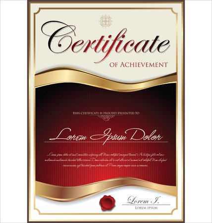 certificate template: Red and gold certificate template