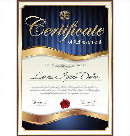 gold design: Blue and gold certificate template