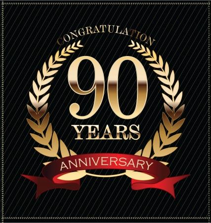 周年記念ゴールデン月桂冠、90 年 写真素材 - 25297455