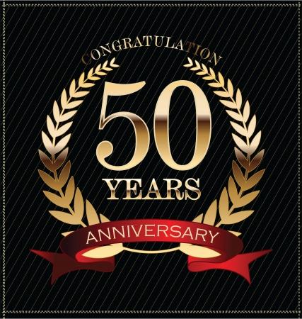 anniversaire: Anniversaire de laurier d'or couronne 50 ans Illustration