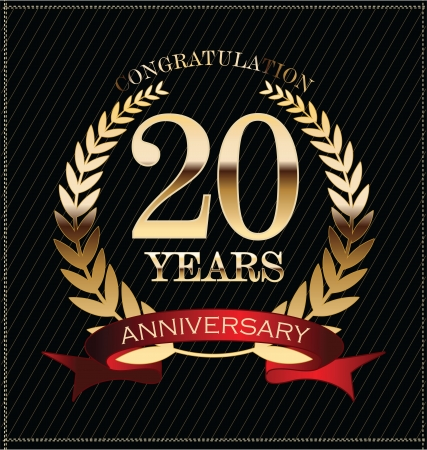 기념일 황금 월계관 20 년 일러스트