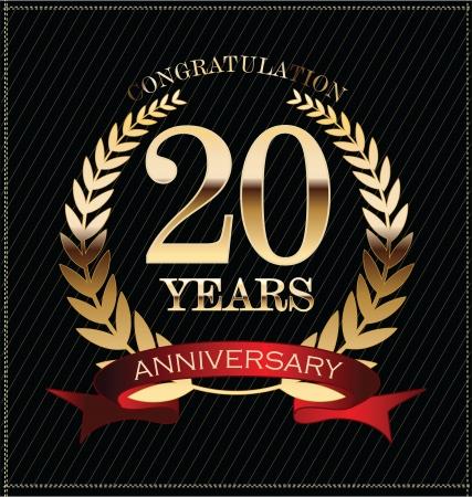 Jubileum gouden lauwerkrans, 20 jaar Stockfoto - 25297463