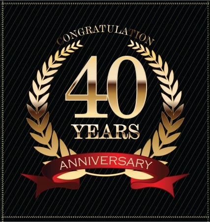 周年記念ゴールデン月桂冠、40 年  イラスト・ベクター素材