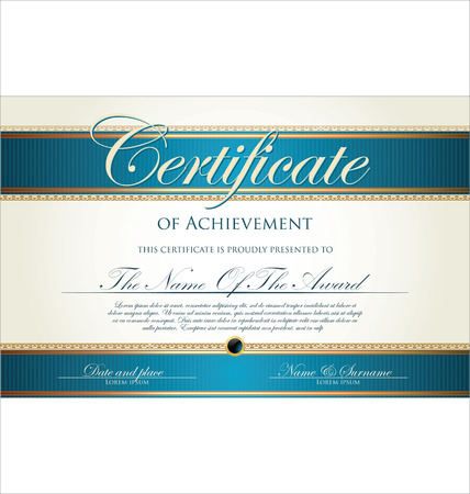Blue and gold certificate template Vector