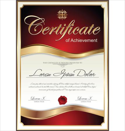 Červené a zlatý certifikát šablona