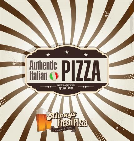 Pizza retro background Vector