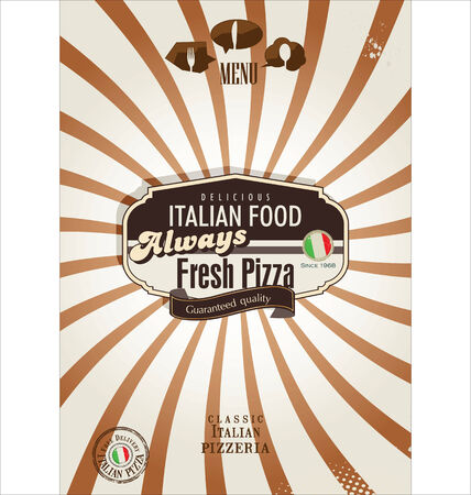 Pizza retro background Vector