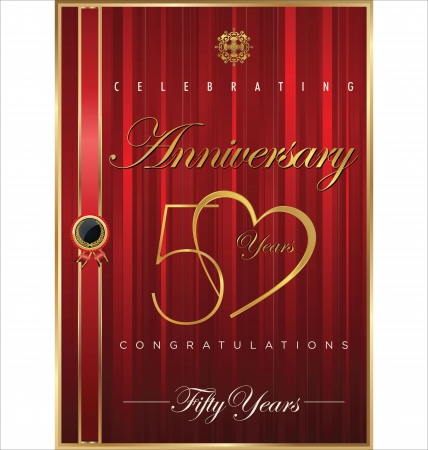 50: Anniversary red background, 50 years Illustration