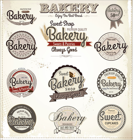 baked goods: Retro Bakery Badges And Labels