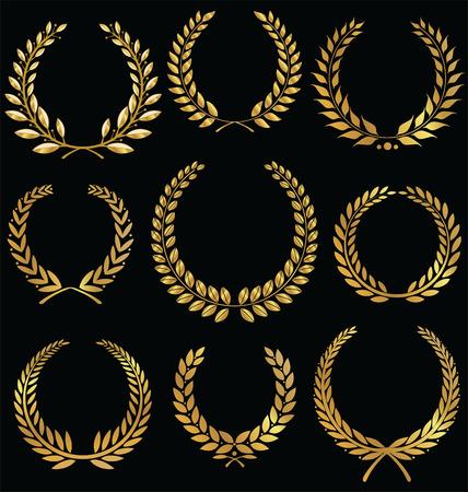 黄金の月桂樹の花輪を設定 写真素材 - 25629079