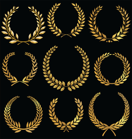 Golden laurel wreath, set Vector