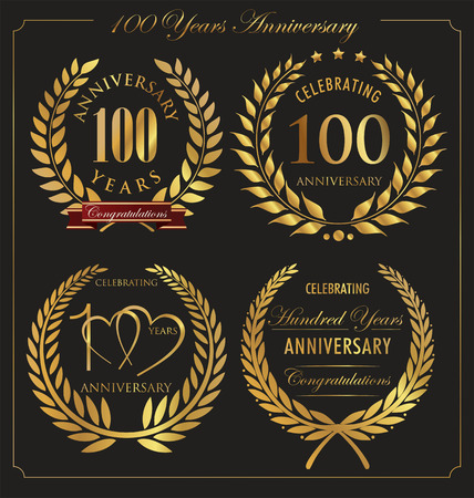 Anniversary golden laurel wreath, 100 years Vector