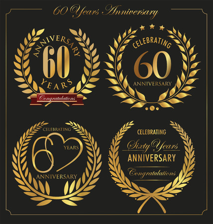Anniversary golden laurel wreath, 60 years Vector