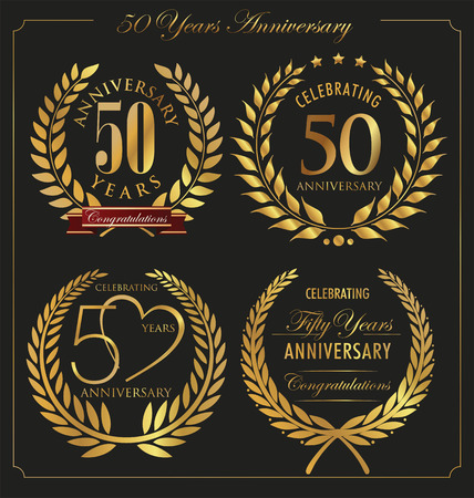 50 years jubilee: Anniversary golden laurel wreath, 50 years Illustration