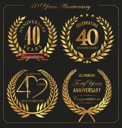 golden laurel wreath 10 years: Anniversary golden laurel wreath, 40 years Illustration