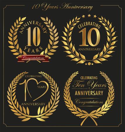 golden laurel wreath 10 years: Anniversary golden laurel wreath, 10 years
