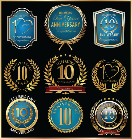 golden laurel wreath 10 years: Anniversary labels and laurel wreaths
