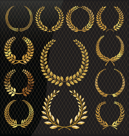 golden laurel wreath: Golden laurel wreath, set