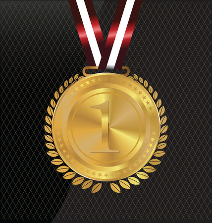 Gold medal and lurels Vector