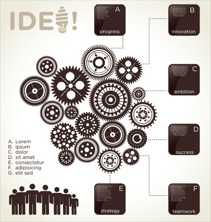 mechaninc: Infographic design template with gears Illustration