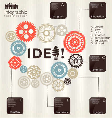 Infographic design template with gears Vector