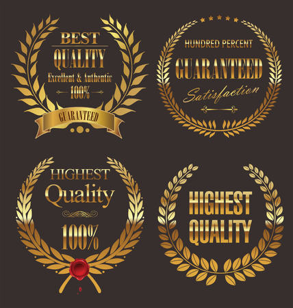 Premium quality golden laurel wreath, set Vector