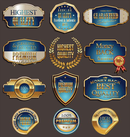 Set of premium gold and blue  labels  Stock Vector - 25968984