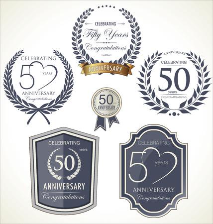 1 year anniversary: Anniversary sign collection, retro design